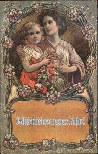 German New Year - Mother & Daughters Art Nouveau c1910 Postcard
