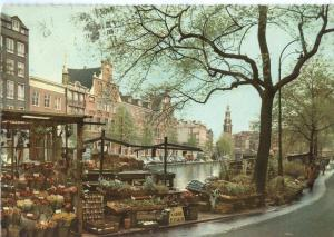 Amsterdam, Singel-Bloemenmarkt, 1960 used Postcard