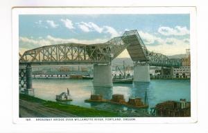Broadway Bridge over Willamette River, Portland, Oregon unused Postcard