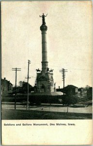 1909 Des Moines, Iowa Postcard Soldiers and Sailors Monument Statue View