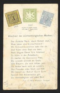 WURTTEMBERG Stamps on Postcard Poem Used c1902