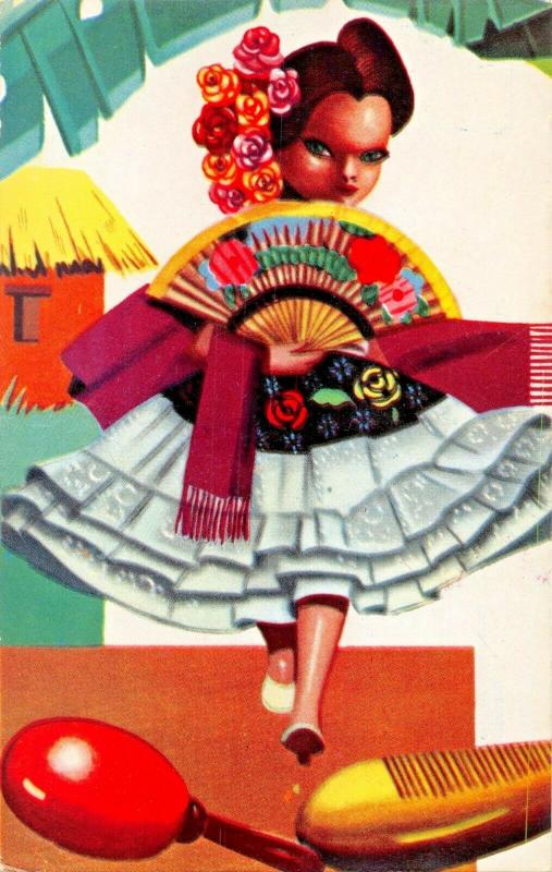 BAMBA VERACRUZANA~TYPICAL DANCE FROM VERACRUZ MEXICO POSTCARD 1959