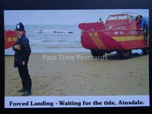 Isle of Man AINSDALLE BEACH Crash Landing Rescue c1987 Postcard by G.B. Cards