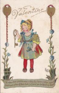 Valentine's Day Young Girl With Gold Key