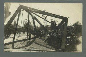 Augusta WISCONSIN RPPC 1908 BRIDGE COLLAPSE Steam Engine nr Eau Claire DISASTER