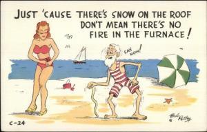 Old Man Spots Bathing Beauty BOB PETLEY Comic Postcard