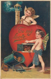 Valentine - To My Love Vintage Embossed Unposted Postcard  03.75