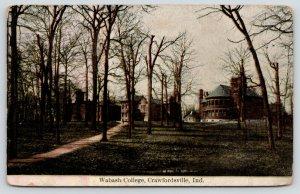 Crawfordsville Indiana~Wabash College Campus~Path Thru Bare Trees~Buildings~1908