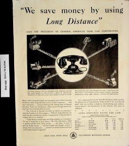 1932 General American Tank Car Bell Telephone Phone Call Vintage Print Ad 4141