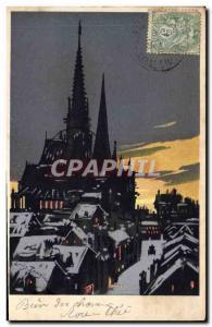 Old Postcard Against Light Church