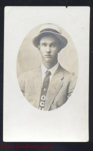 RPPC OKLAHOMA CITY OKLAHOMA HIG SCHOOL MAN WITH HAT REAL PHOTO POSTCARD