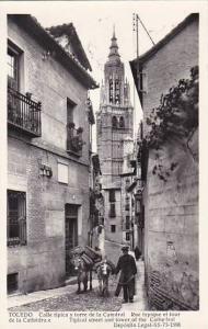 Spain Toledo Calle tipica y torre de la Catedral 1958 Photo