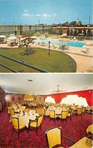 Wayne New Jersey~Holiday Inn 2 Views~Dining Room & Swimming Pool~1950s Postcard