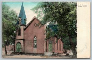 Victor Iowa~Methodist Episcopal ME Church~Front & Back Doors~1909 Handcolored PC