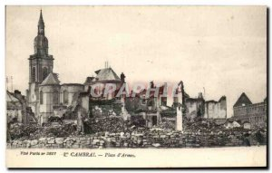 Old Postcard Cambrai Place d & # 39Armes Army