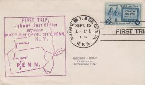 FIRST TRIP HIGHWAY POST OFFICE mail between Buffalo, NY & Oil City, PA, 1952