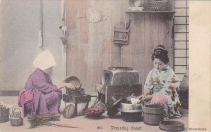 Japan Beautiful Geisha Girls Preparing Dinner Handcolored Rotograph