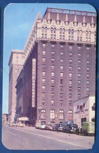 Hotel Fontenelle downtown 1950s old cars Omaha Nebraska ne postcard