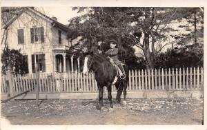 Real Photo Postcard~Boy on Big Horse~Victorian House~Skinny Porch~Picket~1908
