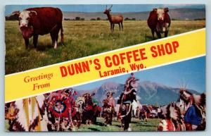 Postcard WY Banner Dual View Greetings From Laramie Dunn's Coffee Shop P11