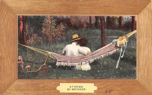 Tennis Post Card At Home by Meisner Man and Woman in Hammock 1908