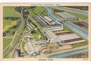 Idaho Lewiston Potlatch Forests Sawmill Largest In The World 1941 Curteich s7207