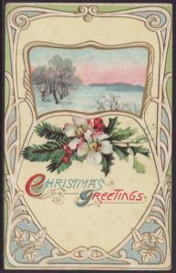 Christmas Greetings,Scene Postcard