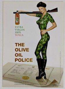 2002 Tosca Extra Virgin Olive Oil Advertising Postcard Guy Powers Sexy Woman Gun