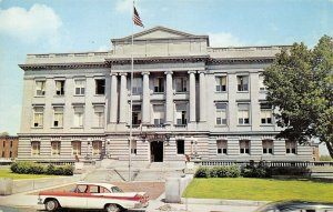 Kenton Ohio~Hardin County Court House~Two Tone Red & White Car with Fins~1950s