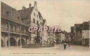 Old Postcard Colmar Place and Fountain Schwendi Schwendi