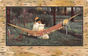 Tennis Post Card A Kiss Man and Woman Kiss in Hammock Unused