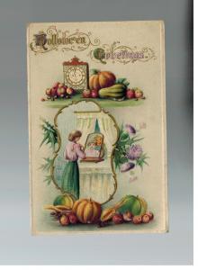 Mint Vintage Embossed Postcard Halloween Greetings Woman with ghost mirror