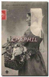 Postcard Old Limousine In Barbichet Folklore Costume