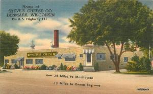 1940s Denmark Wisconsin Steve's Cheese Fagan Publishing linen postcard 9648