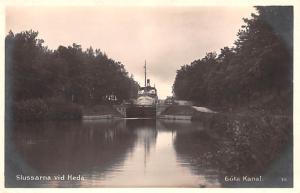 Sweden Old Vintage Antique Post Card Slussarna vid Heda Gota Kanal Unused