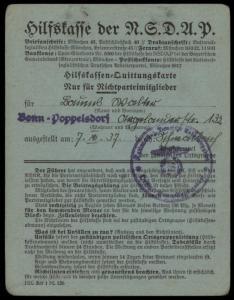 3rd Reich Germany 1933 Membership Revenue Card NSDAP Hilfskasse 78712