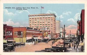 Wichita Kansas~Douglas Avenue @ Water~Dodge Bros~Petrie's~Short Order~c1925 PC