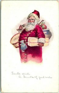 Vintage 1914 CHRISTMAS Postcard SANTA Sends a Bundle of Good Wishes Red Robe
