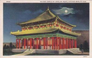Chicago World's Fair 1933 Golden Temple Of Jehol At Night Curteich