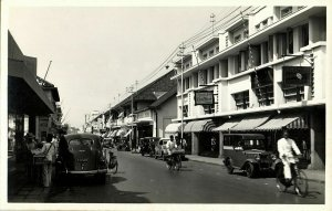 indonesia, JAVA BANDUNG, Street Scene, Coiffeur Barber, Car, Bike (1930s) RPPC