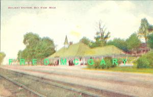 1912 Bay View MI PC: Grand Rapids & Indiana Railroad Depot