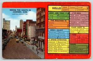 Jackson Mississippi~Capitol Street~Busy Person Correspondence Card~1940s Linen