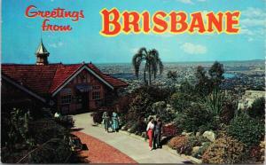 Brisbane Australia Greetings Rockery & Lookout Mt. Coot-Tha c1971 Postcard D77