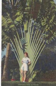 Beautiful Girl With Travelers Palm In Florida