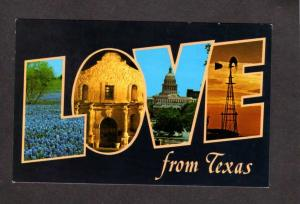 TX Love From Texas Postcard Large Letter PC Carte Postale
