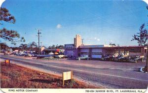 Fort Lauderdale FL King Motor Co.  Oldsmobile GMC Truck Dealership Postcard