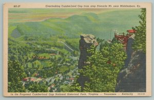 Middlesboro Kentucky~Cumberland Gap~Pinnacle Mt~Vintage Postcard