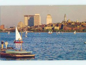 Unused Pre-1980 SAILBOATS BY THE SKYLINE Boston Massachusetts MA F8830
