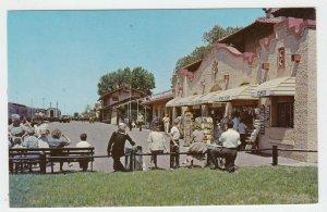 P2056 vintage postcard busy railroad train & station people shops sante fe NM.