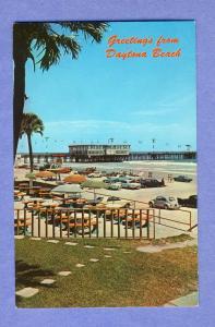 Daytona Beach, Florida/FL Postcard, Pier/Volkswagon, 1960's?